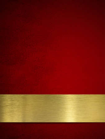 reflective background: gold plate or plaque on red background Stock Photo
