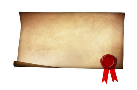 Grunge paper with wax seal and ribbon isolated on white background photo