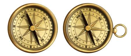 aged brass antique nautical pocket compass set isolated on white background Stock Photo - 15961773