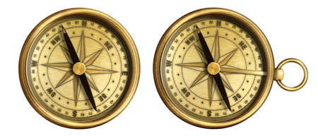 aged brass antique nautical pocket compass set isolated on white background Stock Photo - 15961773
