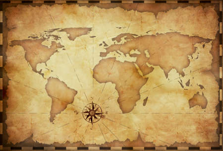 vintage world map: abstract old grunge world map Stock Photo