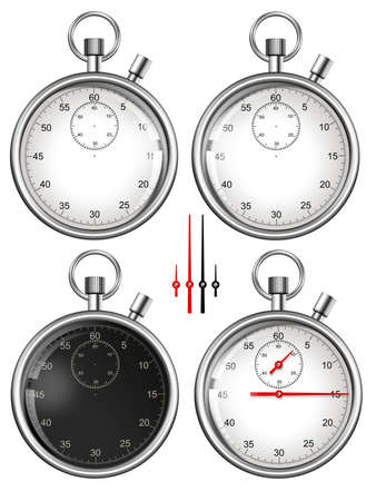 analog clock: Set of stopwatches and parts ready for your design  Illustration