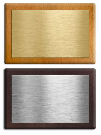 Silver and gold wooden plaques isolated on white set.