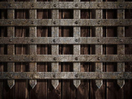 fantasy castle: medieval castle wall or metal gate background Stock Photo