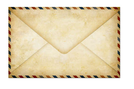 old envelope: old closed paper air post letter isolated on white