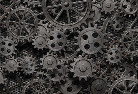 MAQUINA DE VAPOR: muchos viejos engranajes de metal oxidadas o partes de m�quinas Foto de archivo