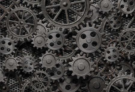 tandwielen: veel oude roestige metalen tandwielen of machine-onderdelen