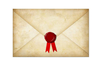 old paper letter with wax seal and bow isolated on white photo