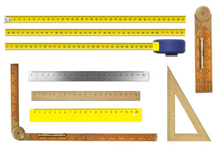 inches: rulers set isolated on white