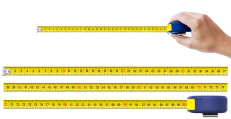 measure tape: human hand with tape-measure and set of pieces allowing to make any size of tape up to one meter