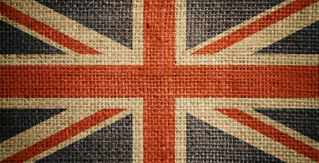 sackcloth: British flag on burlap or sacking or sackcloth texture