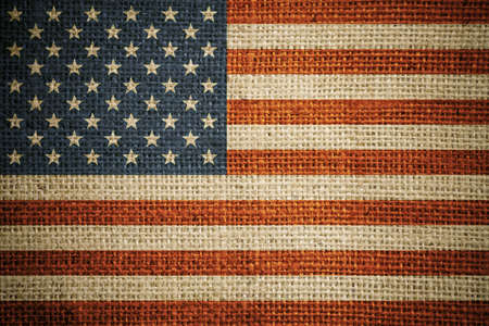 USA flag on grunge canvas background photo
