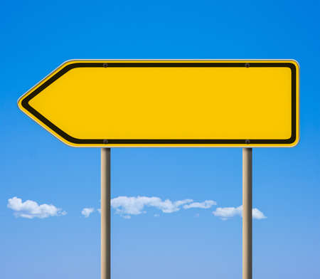 heed: Blank yellow road sign, direction pointer Stock Photo