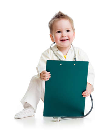 kid or child playing doctor with stethoscope and medical clipboard isolated studio shot photo