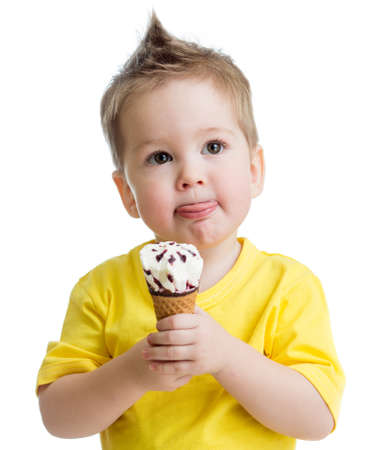 kid eating ice cream isolated on white photo