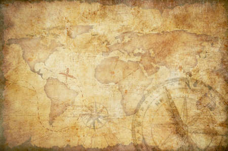 leeftijd schatkaart, liniaal, touw en oude koperen kompas stilleven Stockfoto
