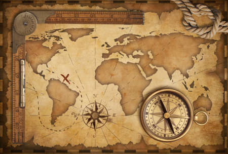 vintage world map: aged treasure map, ruler, rope and old brass compass still life