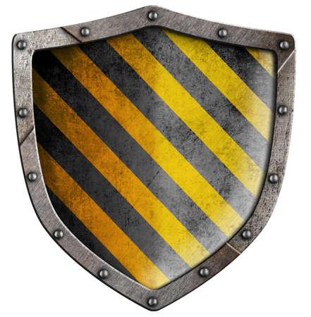seguridad industrial: escudo de metal industrial con remaches aislados en blanco
