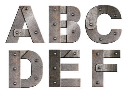 rivet metal: Old grunge metal alphabet letters isolated on white  From A to F