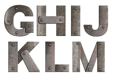 rivet metal: Old grunge metal alphabet letters isolated on white  From G to M  Stock Photo