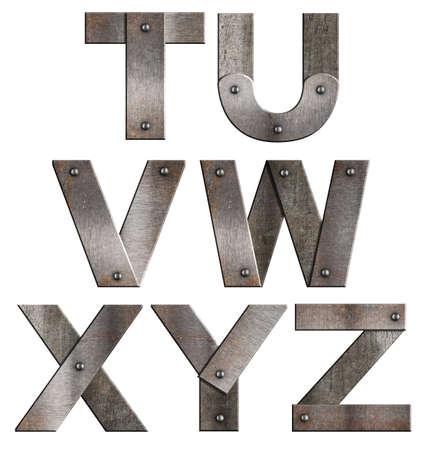 tornillos: Antiguo grunge letras de metal alfabeto aisladas en blanco de la T a la Z Foto de archivo