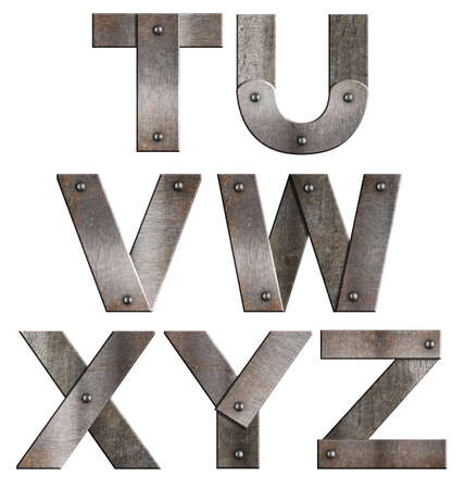 Old grunge metal alphabet letters isolated on white  From T to Z  photo