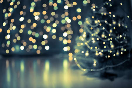 festive: Christmas tree bokeh background Stock Photo