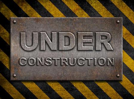&quot,under construction&quot, metal plate  over hazard stripes