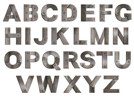 metal alphabet: Old grunge metal alphabet letters isolated on white. From T to Z. Stock Photo