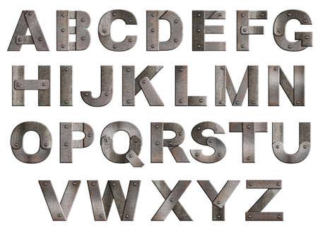 Viejas cartas del alfabeto grunge metálicos aislados en blanco. De T a la Z. Foto de archivo