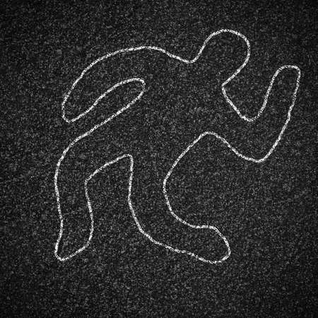 Chalk outline of dead body on asphalt road photo