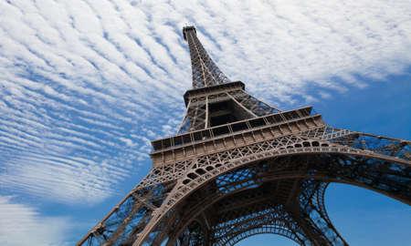 Eiffel tower in Paris against blue sky photo