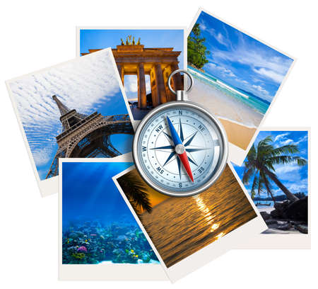 compass: Traveling pictures collage with compass on white background Stock Photo