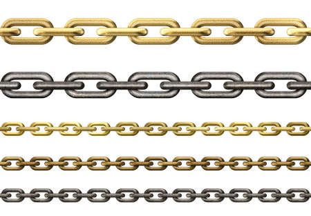 metal chains collection isolated on white photo