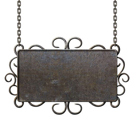 metal sign: metal signboard hanging on chains isolated