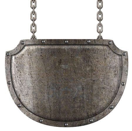 metal shield: medieval metal signboard hanging on chains isolated on white