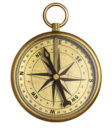 compass: aged brass antique nautical pocket compass isolated on white