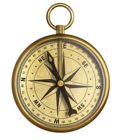 kompas: ve věku starožitný mosazný lodní kapesní kompas izolovaných na bílém Reklamní fotografie
