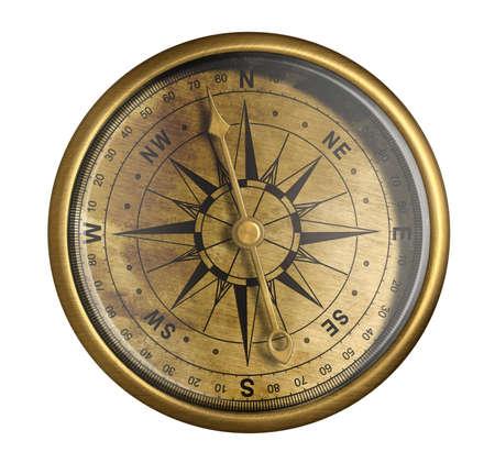 antieke nautische kompas geïsoleerd op wit