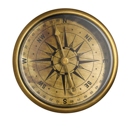 vintage compass: antique nautical compass isolated on white