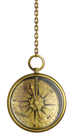 gold chain: brass antique compass hanging on chain isolated on white