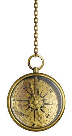 cadenas: Comp�s de cobre amarillo antiguo que cuelga en la cadena de aislados en blanco