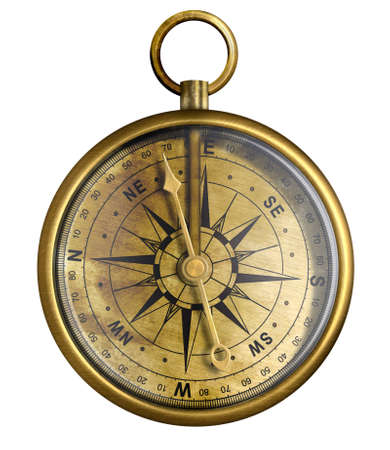brass antique compass isolated on white Stock Photo - 16849801