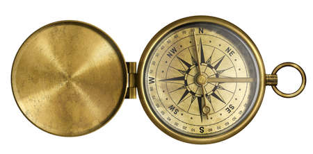 golden antique pocket compass with lid isolated on white photo