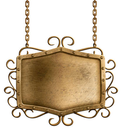 bronze metal signboard hanging on chains isolated photo