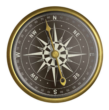 nautical compass: old golden compass with dark face isolated on white