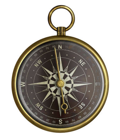 dark face: brass antique compass with dark face isolated on white Stock Photo