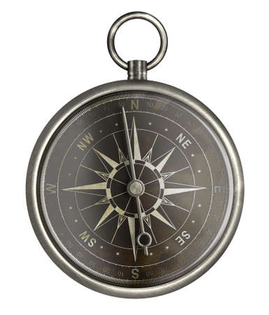 dark face: antique metal compass with dark face isolated on white Stock Photo