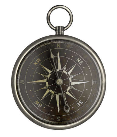 dark face: antique silver compass with dark face isolated on white