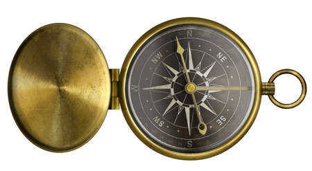 brass antique pocket compass with lid and black scale isolated on white Stock Photo - 16868705